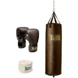 100 LB HEAVY BAG KIT Boxing Punching Gloves Hand Wraps MMA T