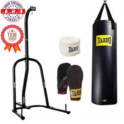Everlast 100 lb Heavy Bag with Stand Kit Boxing Gloves Hand