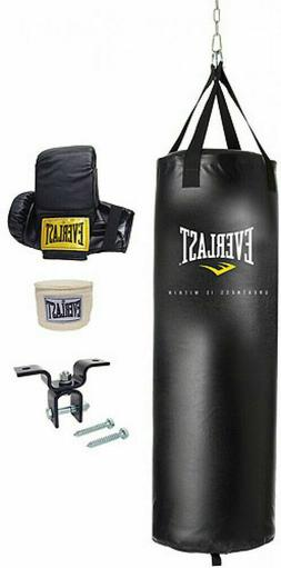 Everlast 70 Lb MMA Heavy Boxing Punching Bag Kit Wraps Glove