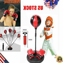 Adjustable Height Kid Punching Ball Bag Speed Boxing Sports