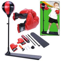 Adult Kids Boxing Punch Exercise Bag Ball With Gloves For Sp