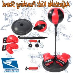Adult Kids Boxing Punch Exercise Bag Ball w/Gloves For Speed
