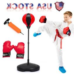 Adult Kids Boxing Punch Exercise Bag Ball With Gloves For Speed Training Stand