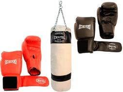 2 Pairs of Pro Quality Boxing Gloves & Pro Punching Bag