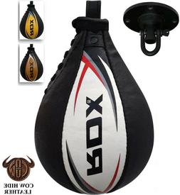 RDX Cow Hide Leather Speed Ball & Swivel Boxing Punch Bag Pu