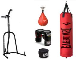 Dual Station Heavy Bag Stand Kit Boxing MMA Training Gloves