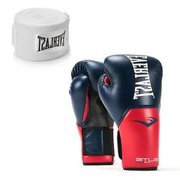 Everlast Navy/Red Elite Pro Style Boxing Gloves 16 Ounce & 1