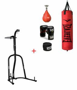Everlast 70 lb Red Heavy and Speed Bag W/ Dual Station Stand
