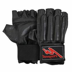 Fingerless Leather Bag Gloves MMA Punch Pad Training Mitts C