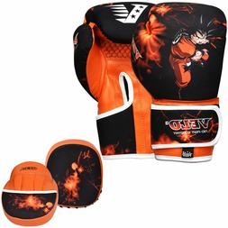 VELO Kids Gloves Boxing Hook & Jab Focus Pads Mitts Kick MMA