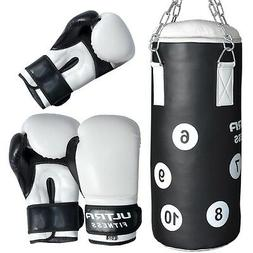 Kids Junior Punch Bag Boxing Set Filled Heavy With Gloves &