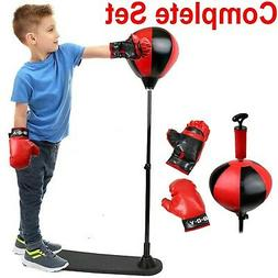 Kids Punching Bag Boxing Gloves Stand Equipment Standing Exe