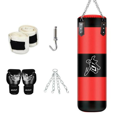 heavy boxing punching bag training gloves kicking