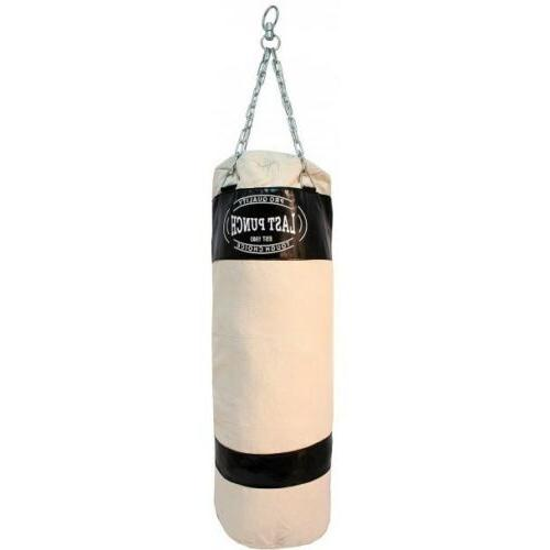 PUNCHING BAG w// 2 PAIRS OF BOXING GLOVES MMA Training Sparring Canvas Heavy Duty