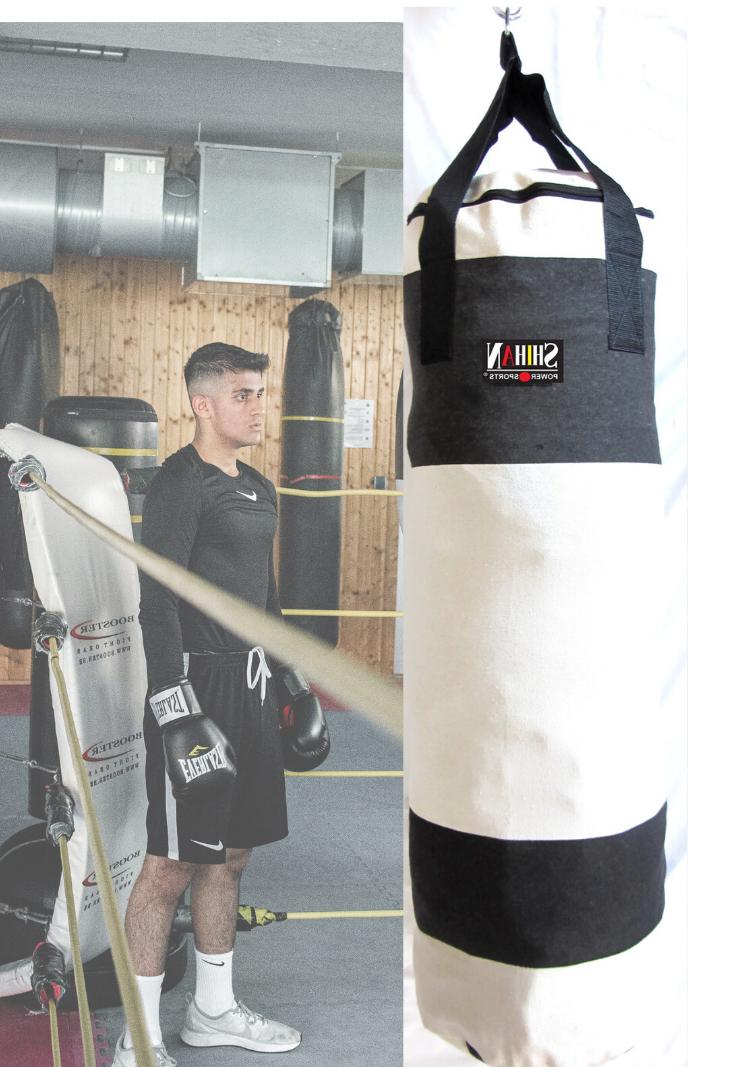 Shihan Boxing Arts 3ft Punch Bag WHITE CANVAS Un-Filled