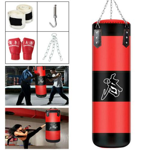unfilled heavy boxing punching bag training gloves
