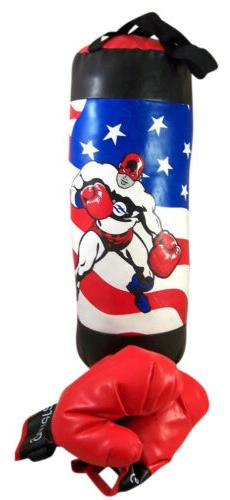 USA Flag with Person Toddler Size Lightweight Boxing Bag and
