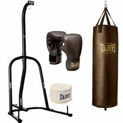 NEW Everlast 100 lb Heavy Bag with Stand Kit Boxing Gloves H