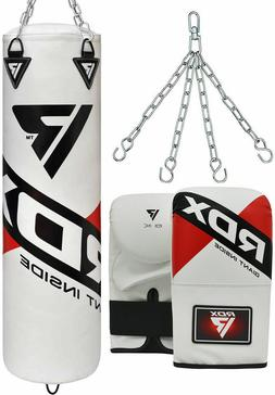 RDX Punching Bag UNFILLED Boxing Mitts 4FT/5FT MMA Heavy Glo