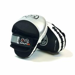 Rival RPM7 Fitness Plus Punch Mitts Silver Black Leather Tra