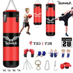 Unfilled Heavy Boxing Punching Bag Training Gloves Speed Set